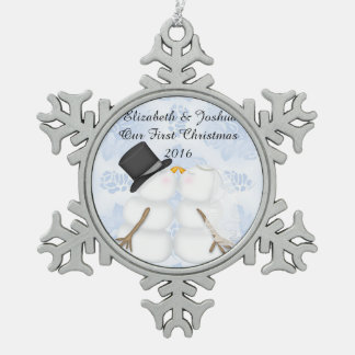 Our First Christmas Married Wedding Engagement Pewter Snowflake Decoration