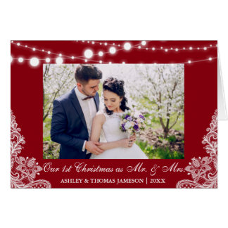 Our First Christmas Mr. & Mrs. Photo Card Red