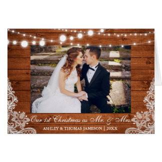 Our First Christmas Mr. & Mrs. Rustic Fold Card