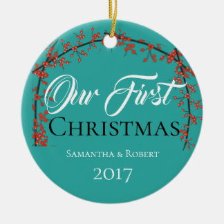 Our First Christmas - Name & Date - Ceramic Ornament