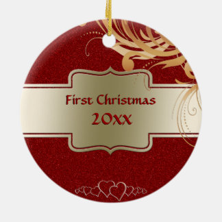 Our First Christmas Newlyweds Pic Faux Red Glitter Christmas Ornament