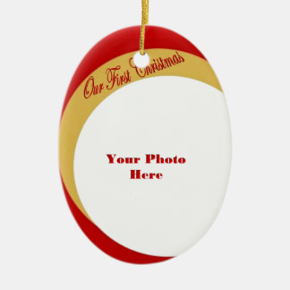 Our First Christmas Photo Frame Ceramic Oval Decoration