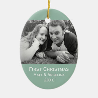 Our First Christmas Photo - Wedding or Engagement Ceramic Oval Decoration
