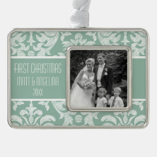 Our First Christmas Photo - Wedding or Engagement Silver Plated Framed Ornament