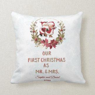 Our First Christmas Poinsettia Wreath Snowflakes Cushion