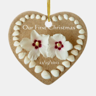 Our First Christmas - Sandy Beach with Heart Shell Ceramic Ornament