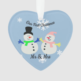 Our First Christmas Snow Couple Heart Ornament