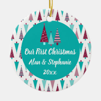 Our First Christmas Teal Mauve Christmas Trees Ceramic Ornament