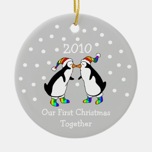 Our First Christmas Together 2010 (GLBT Penguins) Ornaments