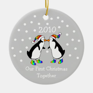 Our First Christmas Together 2010 (GLBT Penguins) Round Ceramic Decoration