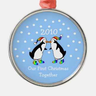 Our First Christmas Together 2010 (GLBT Penguins) Silver-Colored Round Decoration