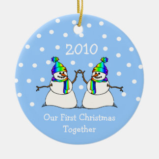 Our First Christmas Together 2010 (GLBT Snowmen) Round Ceramic Decoration