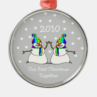 Our First Christmas Together 2010 (GLBT Snowmen) Silver-Colored Round Decoration