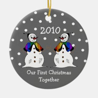 Our First Christmas Together 2010 (GLBT Snowwomen) Ceramic Ornament