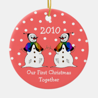 Our First Christmas Together 2010 (GLBT Snowwomen) Double-Sided Ceramic Round Christmas Ornament