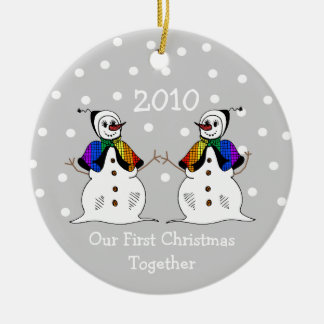 Our First Christmas Together 2010 (GLBT Snowwomen) Round Ceramic Decoration