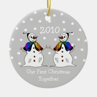 Our First Christmas Together 2010 (GLBT Snowwomen) Round Ceramic Decoration