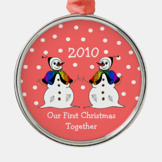 Our First Christmas Together 2010 (GLBT Snowwomen) Silver-Colored Round Decoration