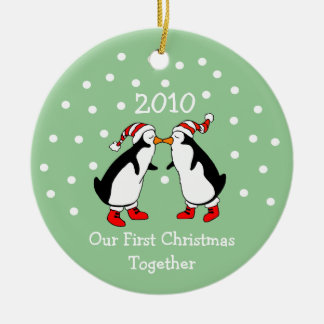 Our First Christmas Together 2010 (Penguins) Ceramic Ornament