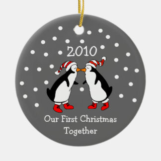 Our First Christmas Together 2010 (Penguins) Round Ceramic Decoration
