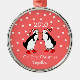 Our First Christmas Together 2010 (Penguins) Silver-Colored Round Decoration