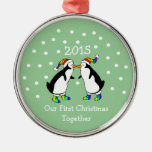 Our First Christmas Together 2015 (LGBT Penguins) Silver-Colored Round Decoration