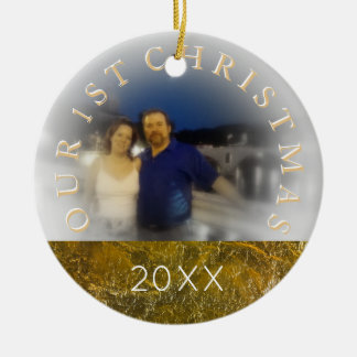 Our First Christmas Together - Add Your Photo Round Ceramic Decoration