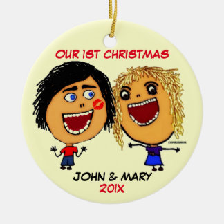 Our First Christmas Together Cartoon Round Ceramic Decoration