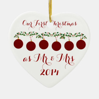 Our First Christmas Together Ceramic Heart Decoration