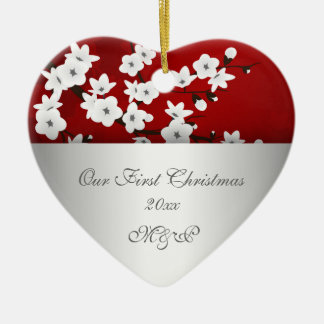 Our First Christmas Together Cherry Blossom Ceramic Heart Decoration