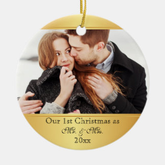 Our First Christmas Together Custom Round Ceramic Decoration