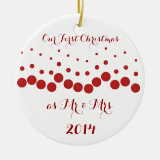 Our First Christmas Together Round Ceramic Decoration