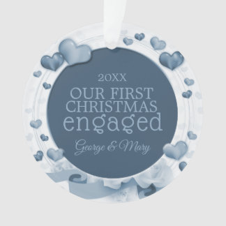 Our First Christmas Together Engaged Photo Blue Ornament