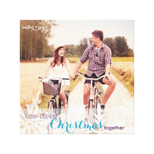 Our First Christmas Together Holiday Photo Canvas Canvas Print