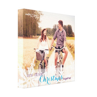 Our First Christmas Together Holiday Photo Stretched Canvas Prints