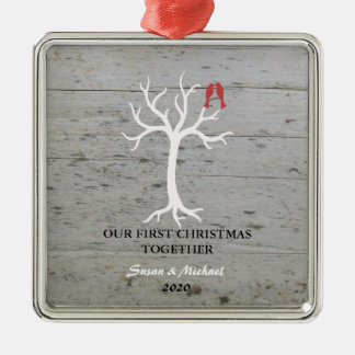 Our first Christmas together love birds tree Metal Ornament