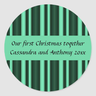 Our first Christmas together mint stripes Round Sticker