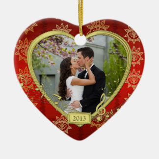 Our First Christmas Together Red Gold Photo Xmas Ceramic Heart Decoration