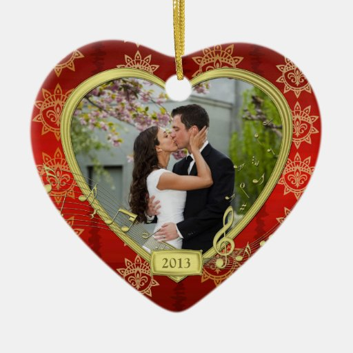 Our First Christmas Together Red Gold Photo Xmas Ornaments