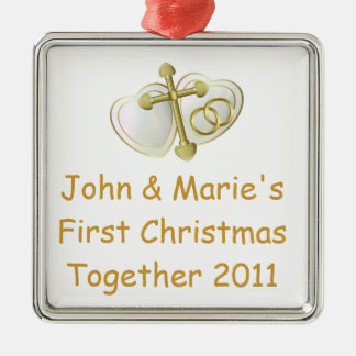 Our First Christmas Together Religious Silver-Colored Square Decoration