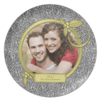 Our First Christmas Together Silver Gold Photo Dinner Plates