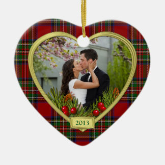 Our First Christmas Together Tartan Photo Xmas Double-Sided Heart Ceramic Christmas Ornament