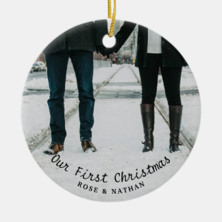 Our First Christmas Wedding Couple Photo Ceramic Ornament