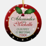 Our First Christmas Wedding Ornament Round Ceramic Decoration