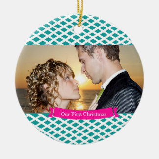 Our First Christmas Wedding Ornament, Teal