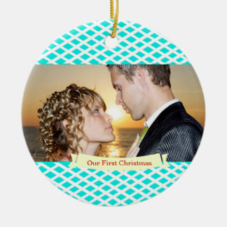 Our First Christmas Wedding Ornament,Turquoise