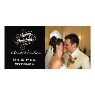 Our First Christmas Wedding Photo Cards,Black Photo Greeting Card