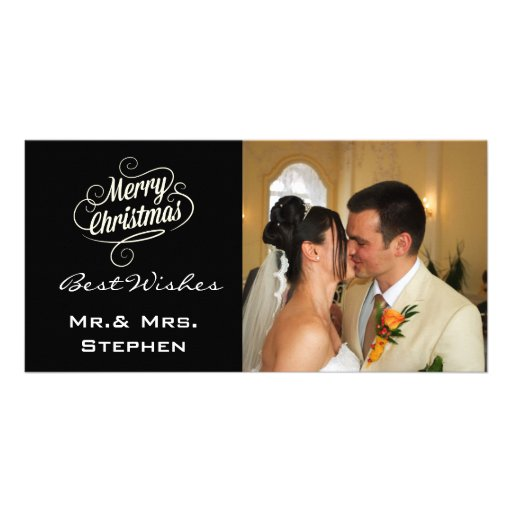 Our First Christmas Wedding Photo Cards,Black