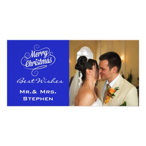 Our First Christmas Wedding Photo Cards,Blue