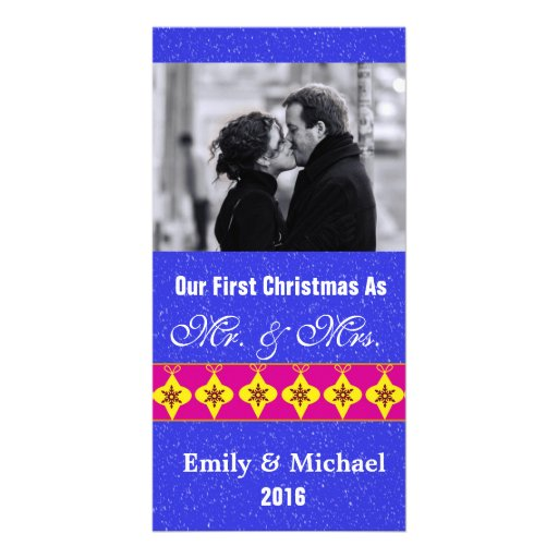 Our First Christmas Wedding Photo Cards, Blue